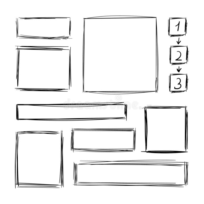Vector Collection of Hand Drawn Scribble Square Frames, Steps with Arrows Scheme, Design Element Set, Pen Freehand Drawings. royalty free illustration