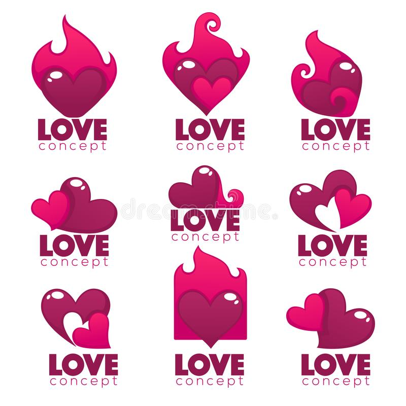 Vector collection of heart, hands and love logo, concept, labels. And forms royalty free illustration
