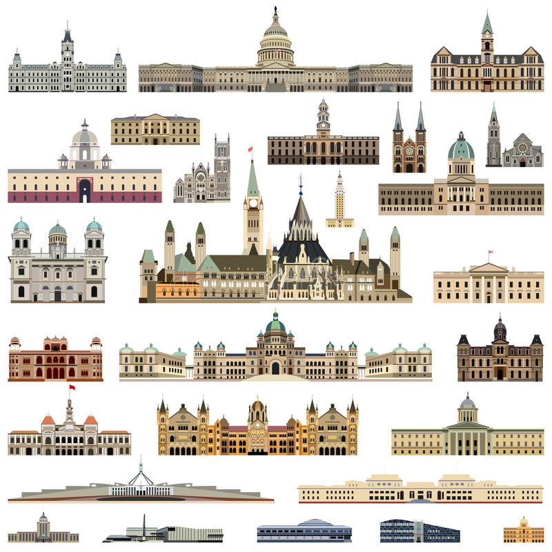 Vector collection high detailed city halls, parliament houses and administrative buildings. Collection high detailed city halls, parliament houses and stock illustration