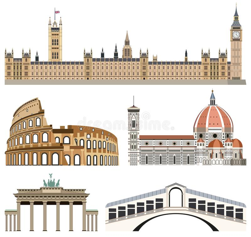 Vector collection of landmarks icons: Palace of Westminster, Colisseum, Florence Cathedral, Brandenburg Gate and Rialto Bridge stock illustration