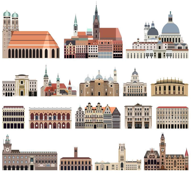 Vector collection of high detailed isolated city halls, landmarks, cathedrals, temples, churches, palaces vector illustration