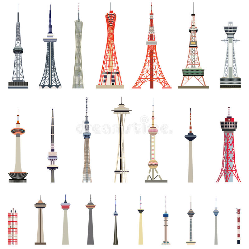 Vector collection of high towers. Vector collection of isolated high towers royalty free illustration