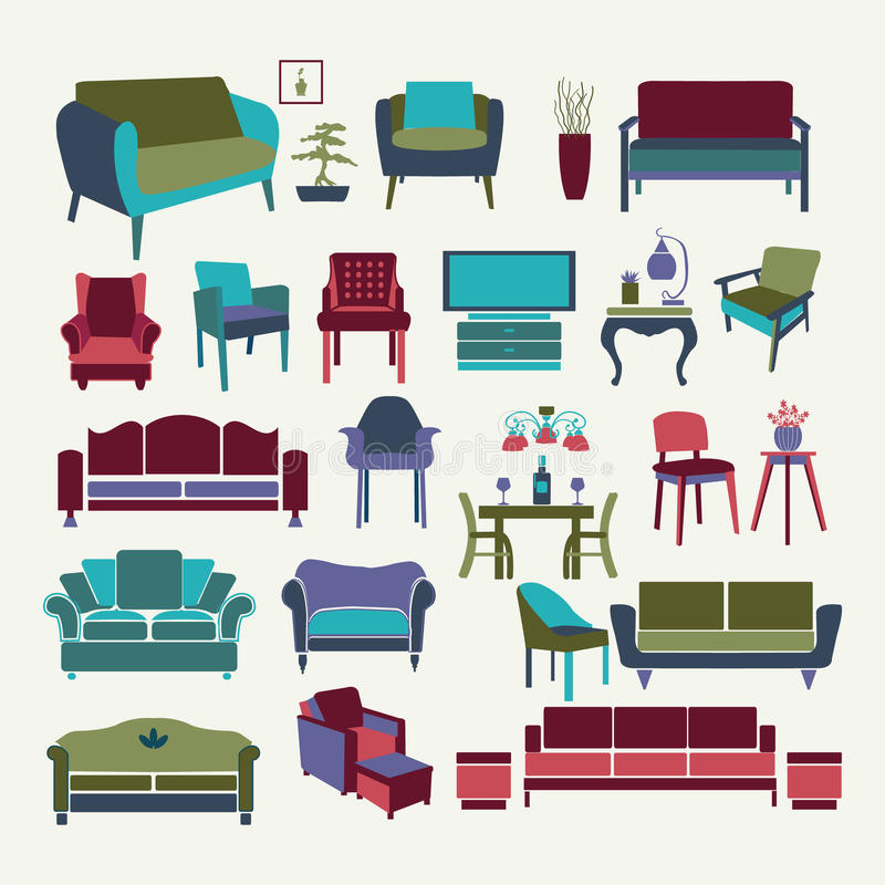 Vector collection of icons set interior design elements for Chair design elements