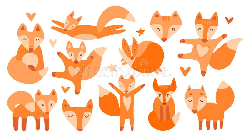 Vector collection of 11 illustrations with cute chanterelles. Red beautiful foxes on a white isolated background. The fox sleeps, vector illustration