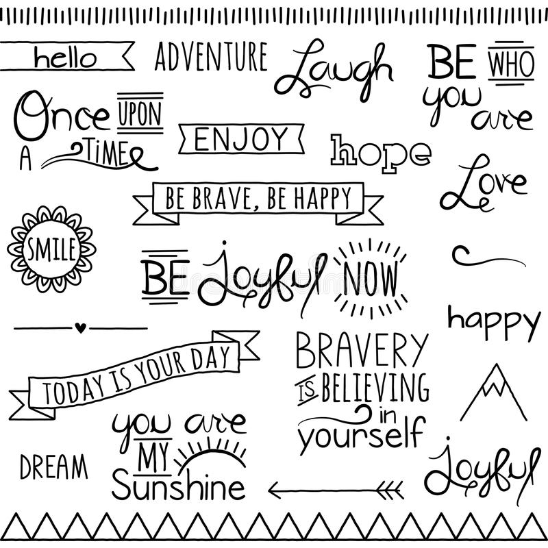 Vector Collection Inspirational Drawn Words royalty free illustration