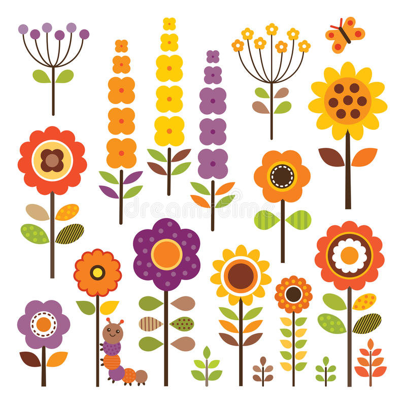 Vector collection of isolated flowers in autumn colors. Vector set of retro flowers in warm autumn colors with caterpillar and butterfly. Isolated on white stock illustration