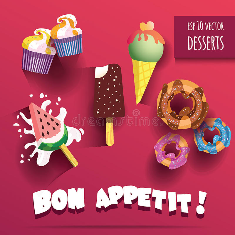 Vector Collection of isolated ice creams and desserts with bon appetit title. Vector Collection of isolated tasty ice creams and desserts with bon appetit title royalty free illustration
