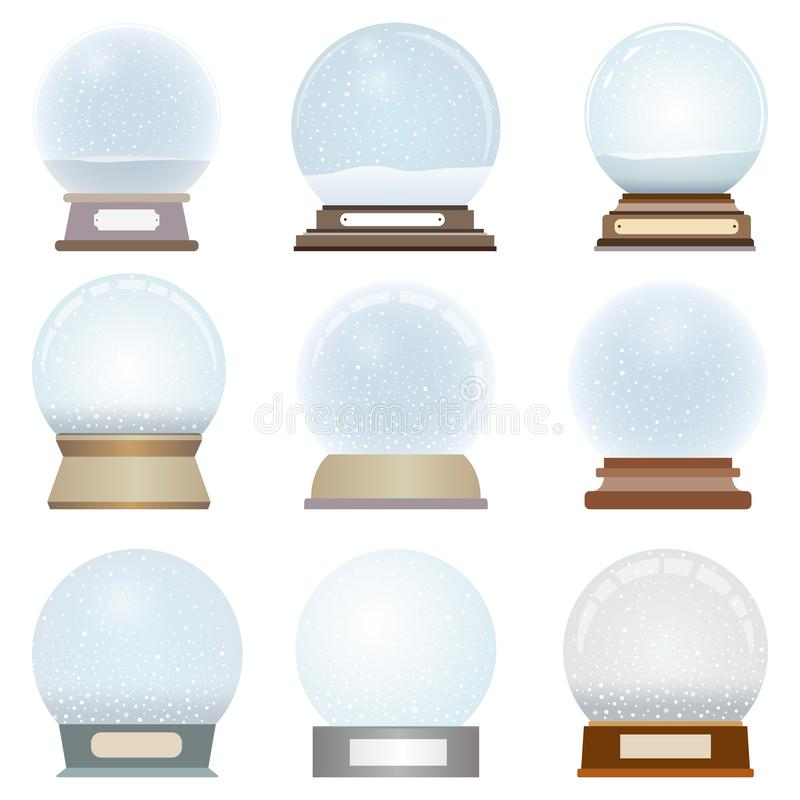Vector collection of isolated snow globes. Collection of isolated snow globes royalty free illustration