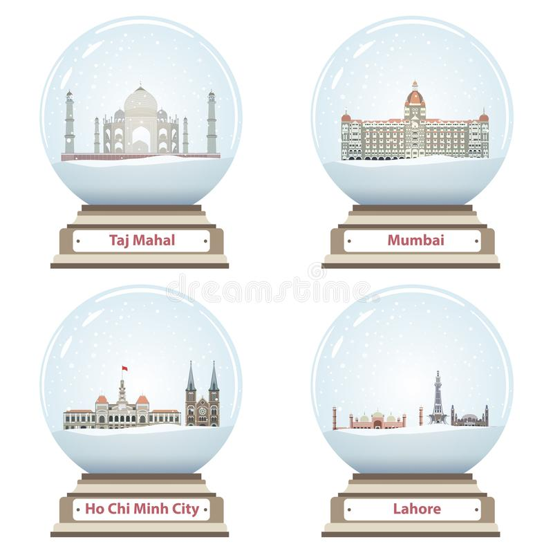 Vector collection of snow globes. Vector collection of isolated snow globes stock illustration