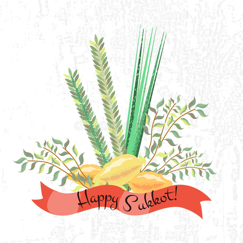 Vector collection of labels and elements for Sukkot (Jewish Trad vector illustration