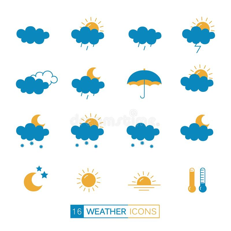 Vector collection of linear flat weather icons in blue and orange colors. stock image