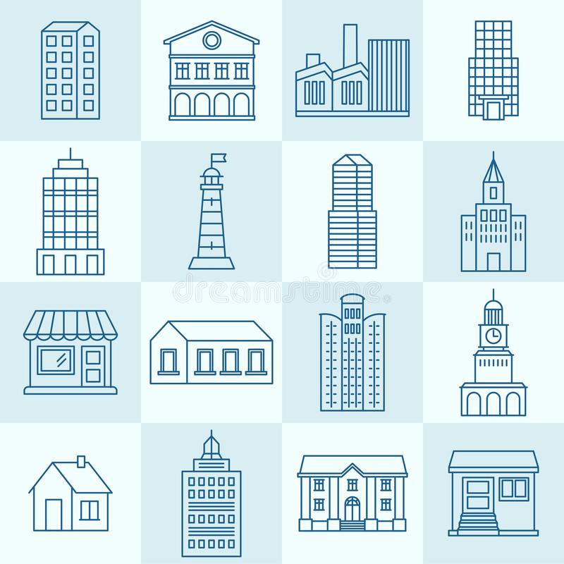 Vector collection of linear icons royalty free illustration