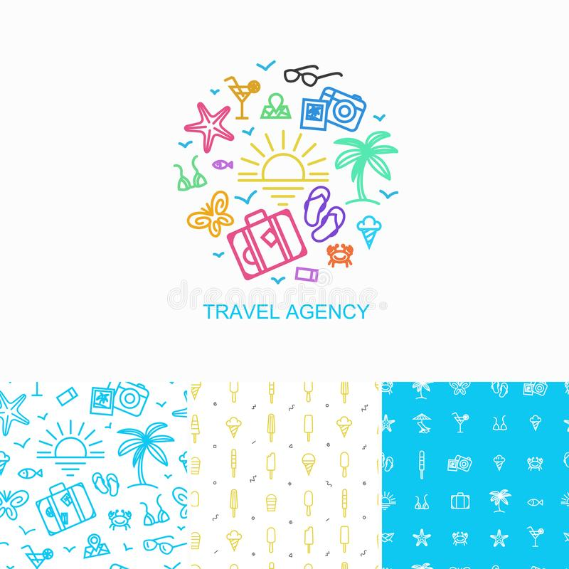 Vector collection of logo design template and seamless patterns - simple symbols of summer vacation made in linear style. Concept for trip, tourism and travel royalty free illustration