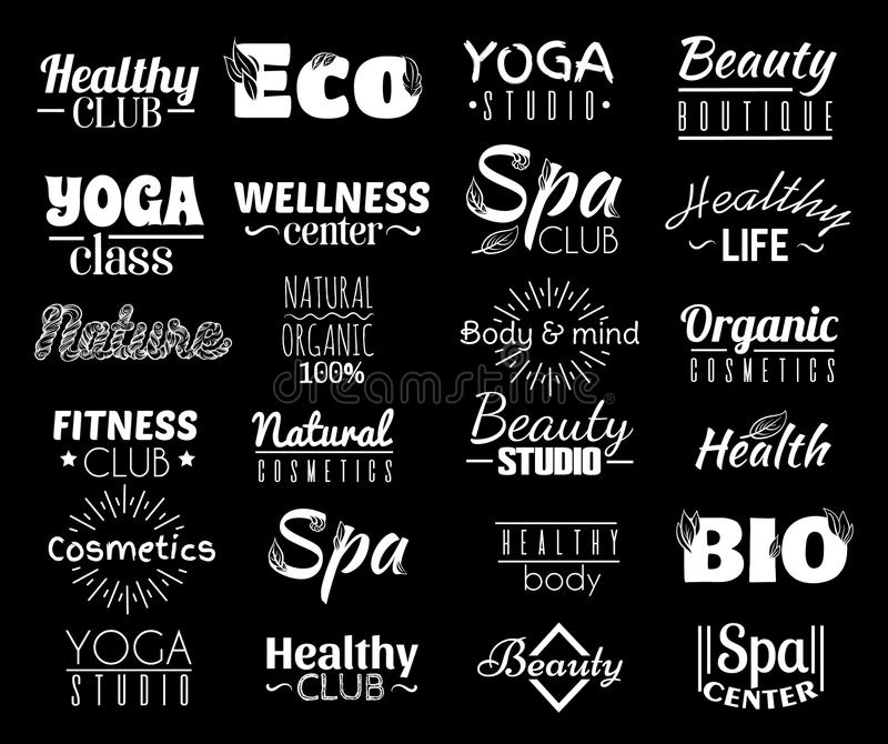 Vector collection of logo and labels, badges for healthy life with decorative elements. stock illustration