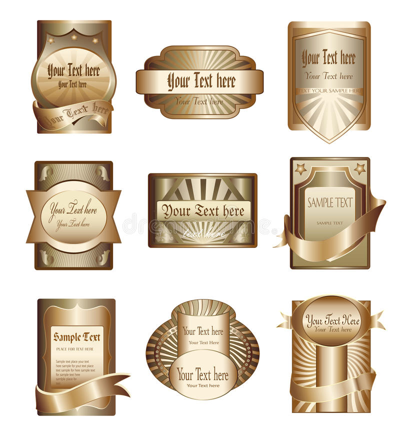 Vector collection of luxury golden labels royalty free illustration
