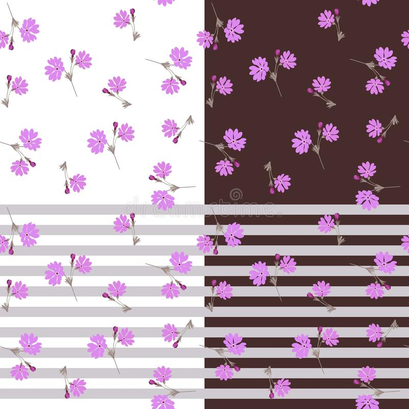 Vector collection of matching seamless patterns with primrose flowers and stripes royalty free illustration