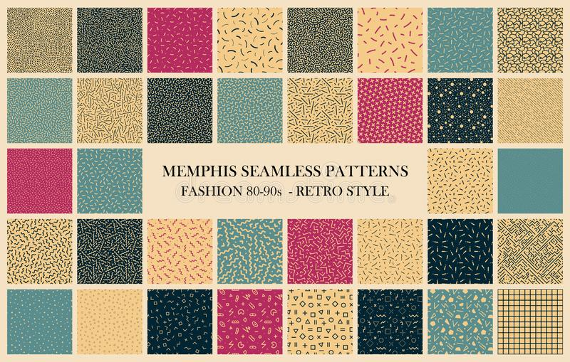 Vector collection of Memphis seamless patterns. Retro design - fashion 80-90s. Color textures - trendy backgrounds stock illustration