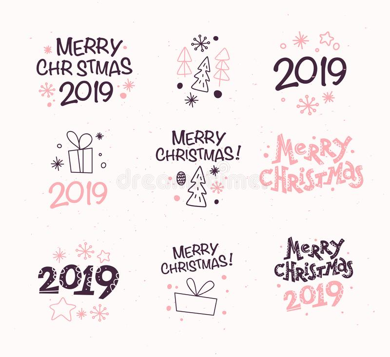 Vector collection of Merry Christmas congratulation compositions with text and outline traditional decor icons. Fir tree, snowflake, gift box, cone, star etc royalty free illustration