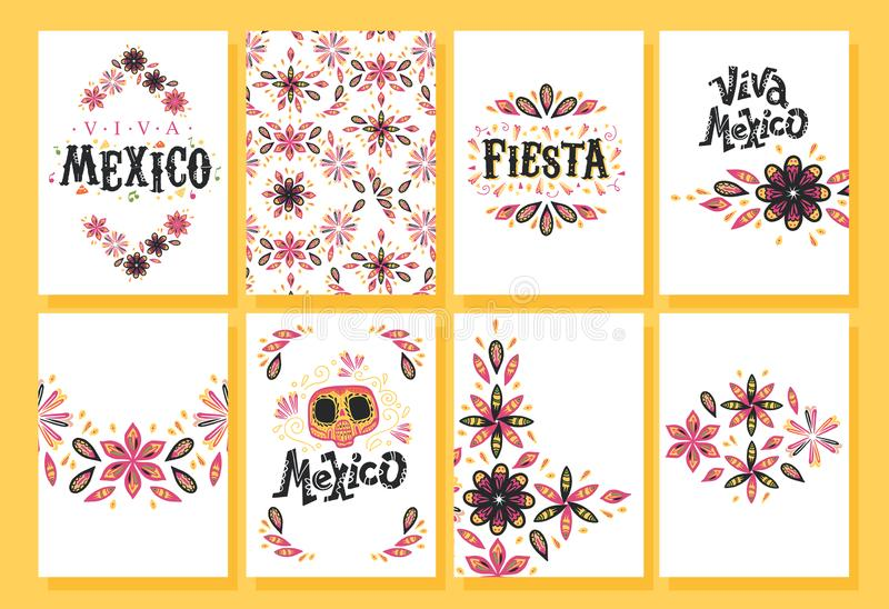 Vector collection of Mexico hand drawn style cards with traditional patterns, decor elements, fiesta lettering on different backgr royalty free illustration