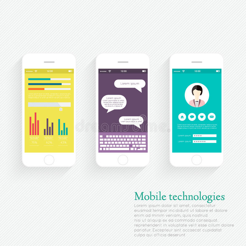 Vector Collection of Mobile Phones. With User Interface and Infographic Elements. Modern Flat Style Design Templates Set royalty free illustration