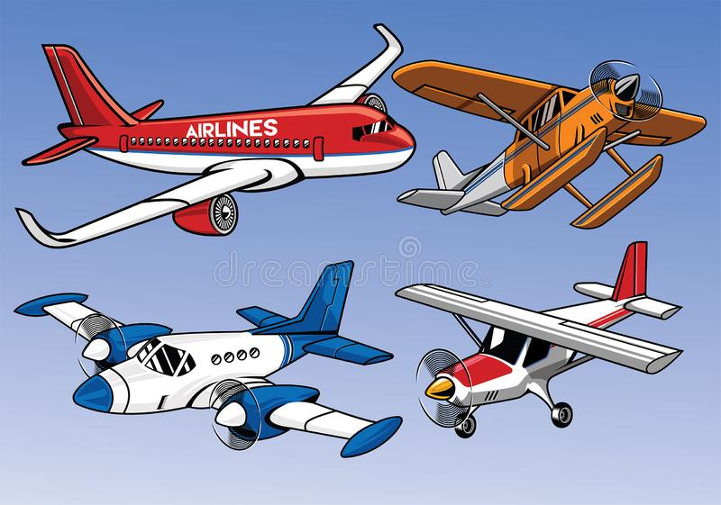 Collection of modern airplane colored version vector illustration