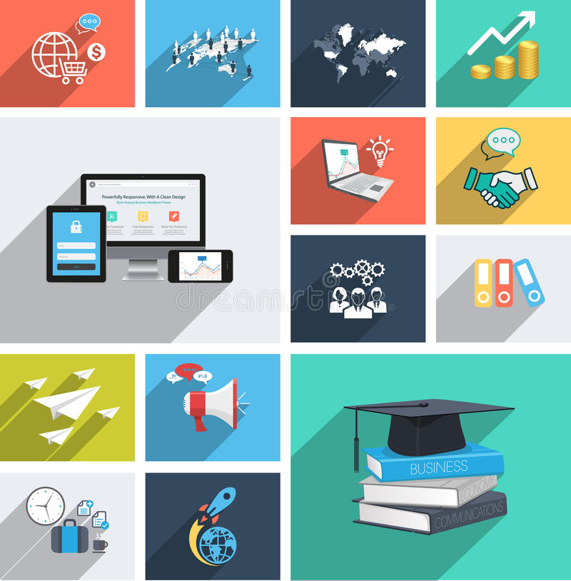 Vector collection of modern flat icons with long shadow. Design elements for mobile and web applications. royalty free illustration