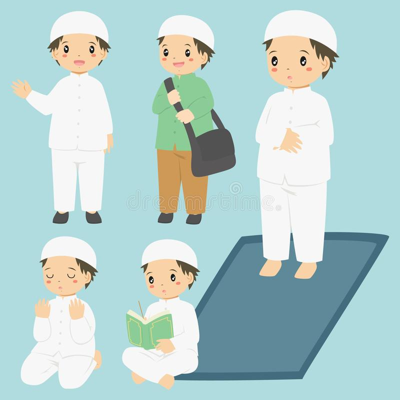 Muslim Boy Daily Activities Vector Collection. Vector collection of a Muslim boy doing his daily activities. Muslim boy reading quran, praying, and salat royalty free illustration