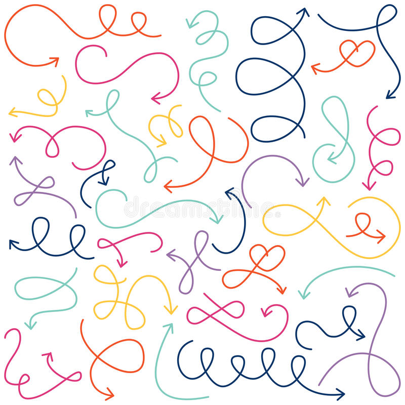 Free Vector Collection Of Doodled Squiggly Arrows Royalty Free Stock Images - 44234629