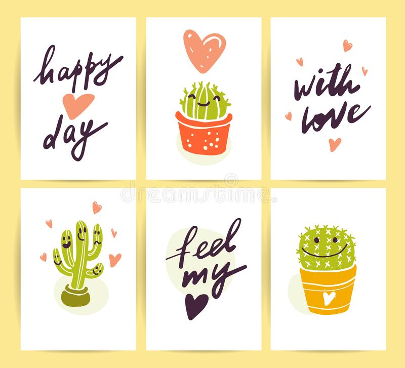 Free Vector Collection Of Flat Cute Love Cards With Funny Hand Drawn Cacti Icons And Portraits, Lettering Congratulations And Heart Sha Stock Image - 110120411