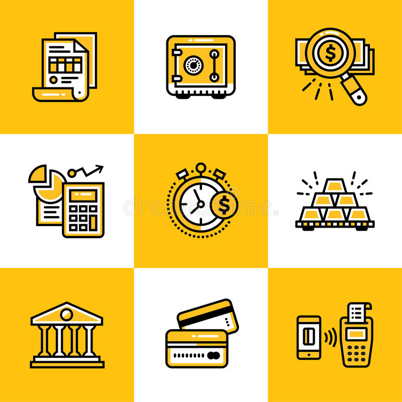 Vector collection of outline icons, finance, banking. Premium quality modern icons suitable for info graphics, print media vector illustration