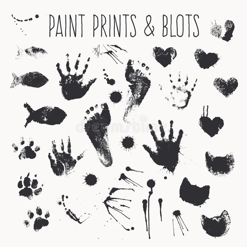 Vector collection of paint prints - footsteps, pawprints, palms, shapes of hearts, cat fish, inkblots stock illustration