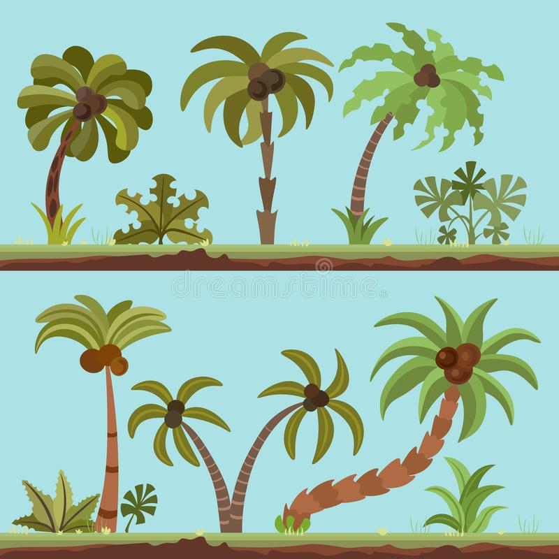 Vector collection of palm trees, cartooning flat style. Palm tree set in summer tropical colors. Green palms isolated on. Blue background. Lush palm resort stock illustration