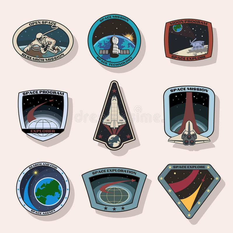 Set of space missions patches royalty free illustration