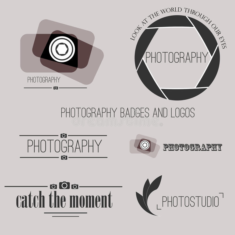 Vector collection of photography logo templates royalty free illustration
