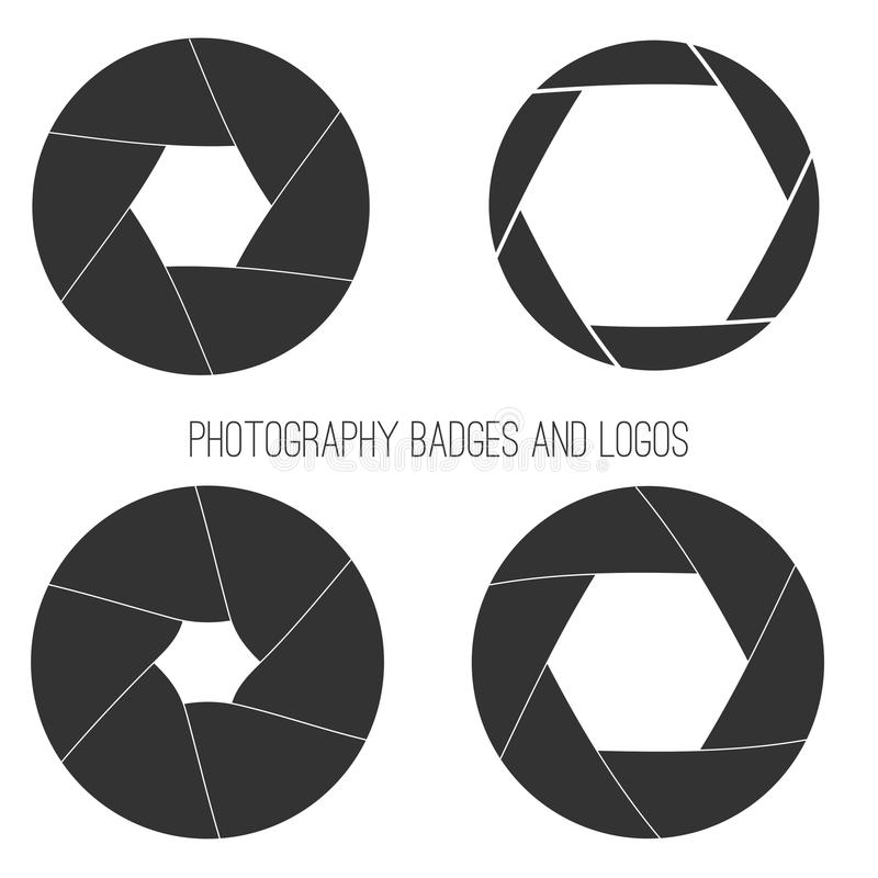 Vector collection of photography logo templates. Photocam logotypes. Photography vintage badges and icons. Modern mass media icons. Photo labels royalty free illustration