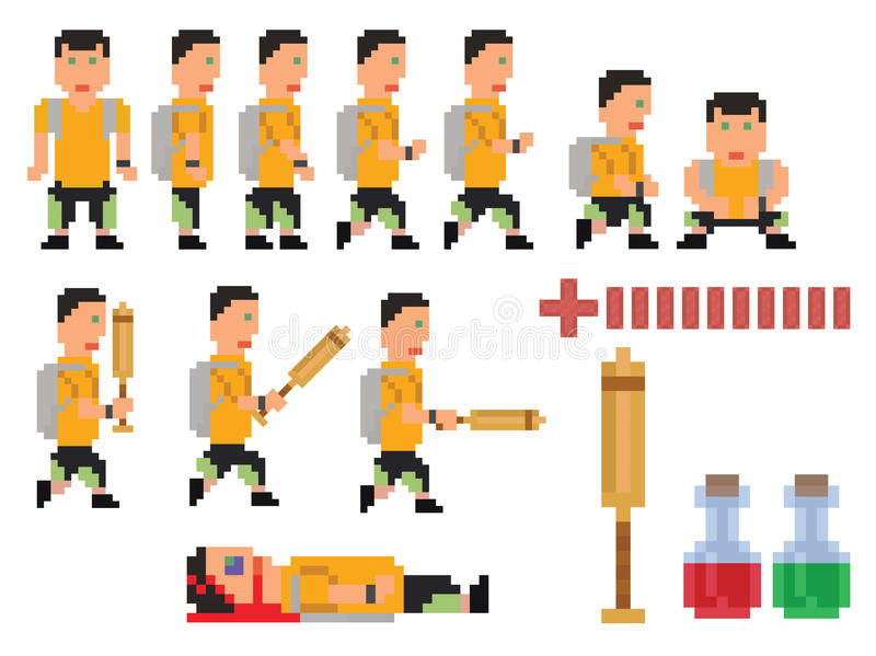 Vector collection of pixel art style person. Hero for computer game vector illustration