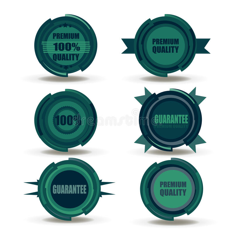 Vector collection of Premium Quality and Guarantee Labels retro vintage style design. 100% sign set badges hight realistic. Commercial product review stock illustration
