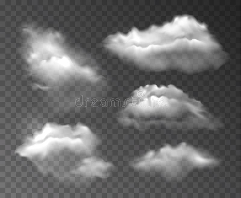 Vector collection of realistic transparent clouds isolated on dark background vector illustration