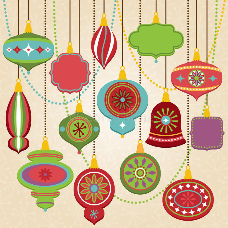 Vector Collection of Retro Christmas Ornaments vector illustration
