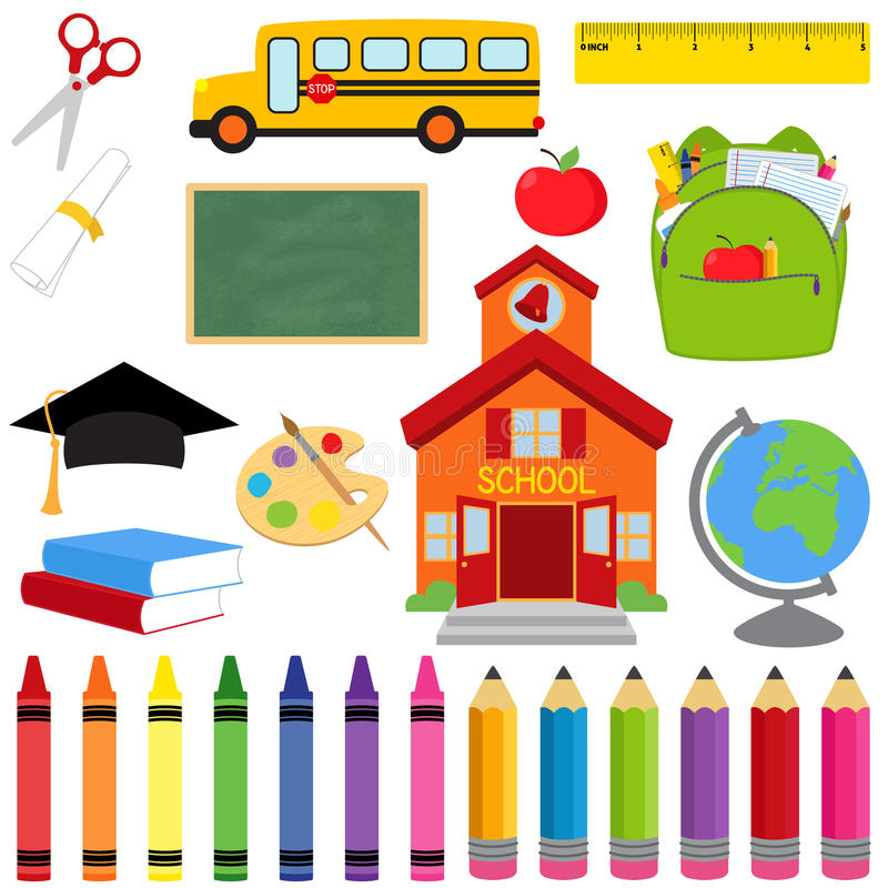 Vector Collection of School Supplies and Images royalty free illustration