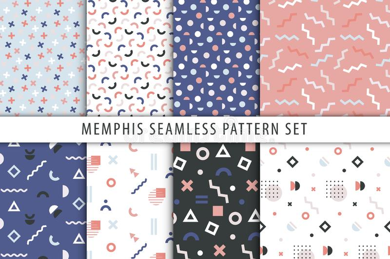 Vector collection of seamless patterns in memphis style. Set of abstract geometric prints. Vector collection of seamless patterns in memphis style royalty free illustration