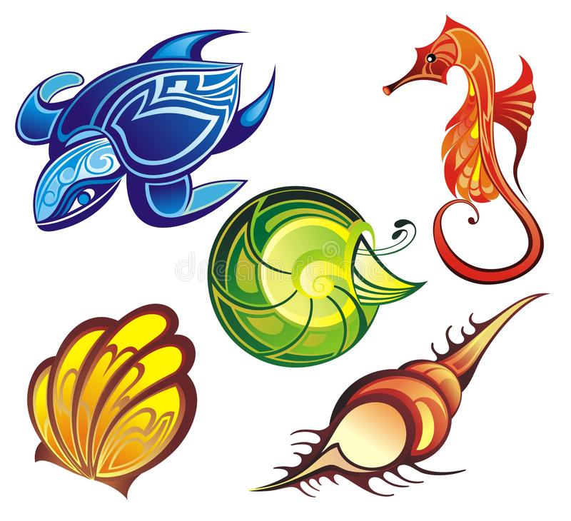Vector collection of seashells and sea animals. Summer sea life creatures seashells turtle mollusk seahorse vector illustration