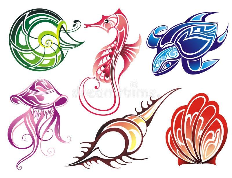 Vector collection of seashells and sea animals. Summer sea life creatures seashells turtle jellyfish mollusk seahorse stock illustration