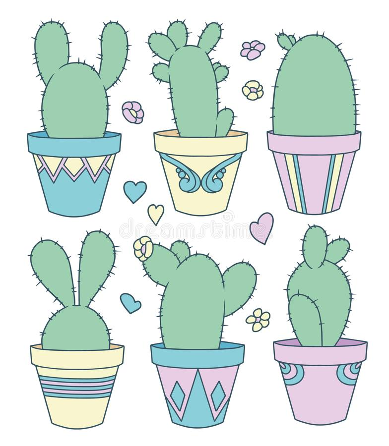 Vector collection set with cute cartoon bunny ear cactus plants in flower pots, flowers and hearts royalty free illustration