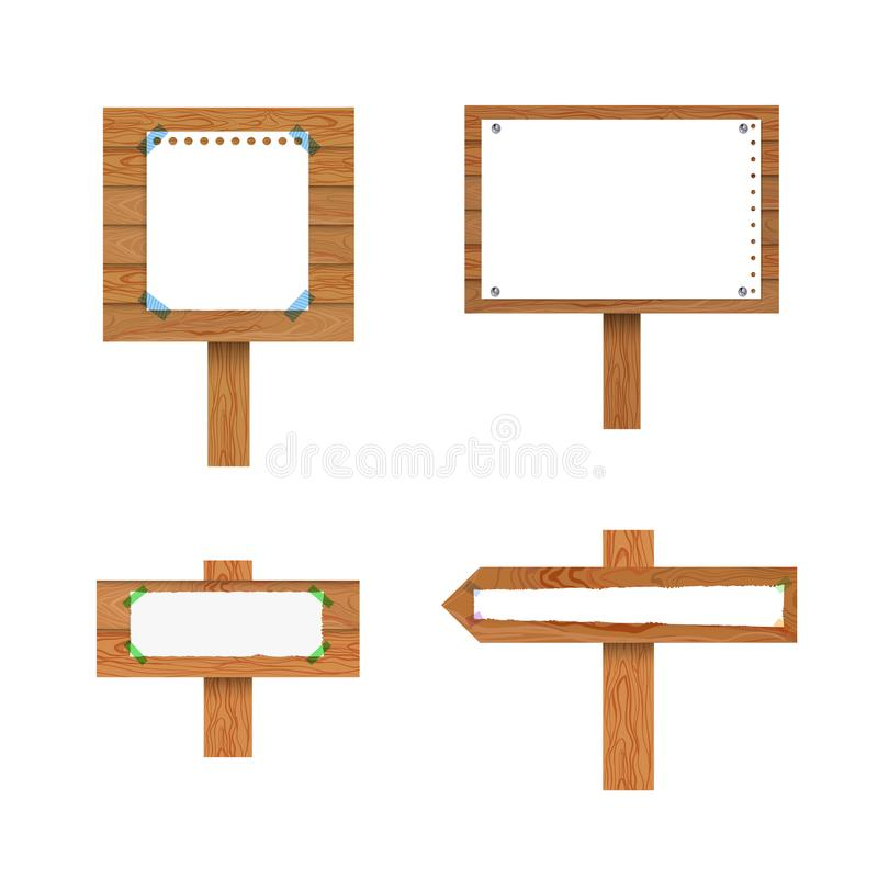 Vector Collection of Signposts with Paper Sheets, Isolated Collection. Vector Collection of Signposts with Paper Sheets, Isolated on White Background Collection stock illustration