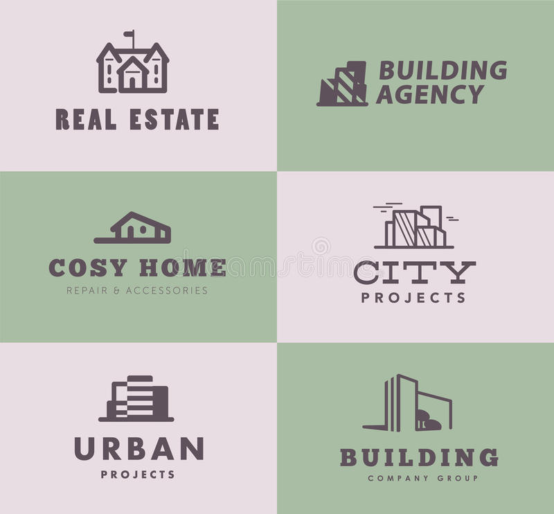 Vector collection of simple stylish outline construction company & architect agency logo designs isolated on light background. vector illustration