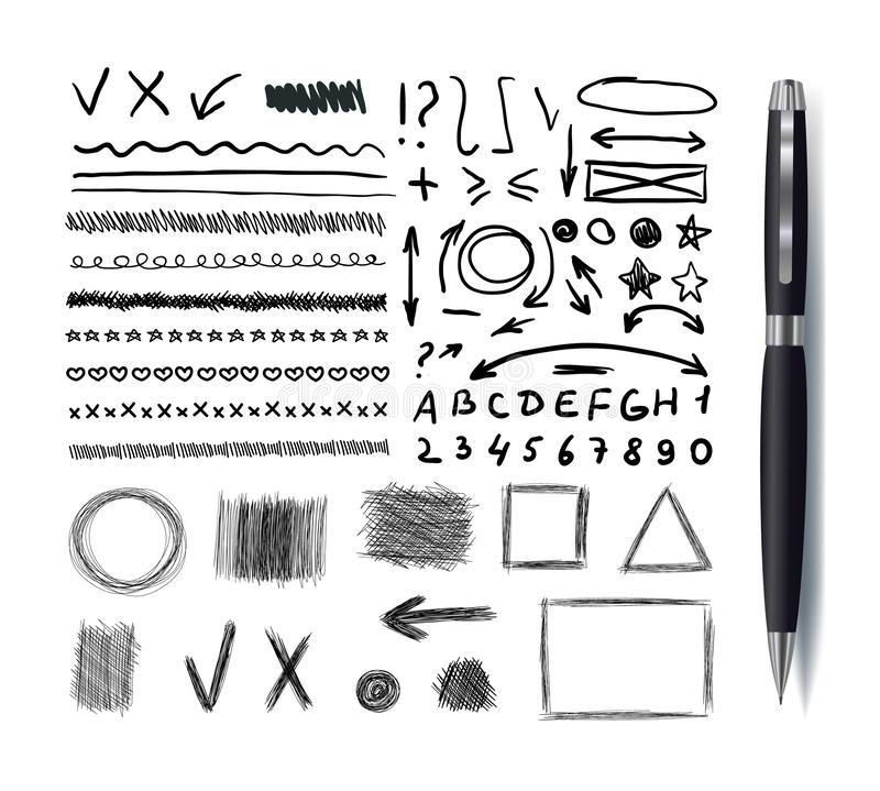 Vector Collection of Sketchbook Drawings, Black Pen Hand Drawn Design Elements Set Isolated, Lines, Arrows and Geometrical Shapes. Vector Collection of royalty free illustration