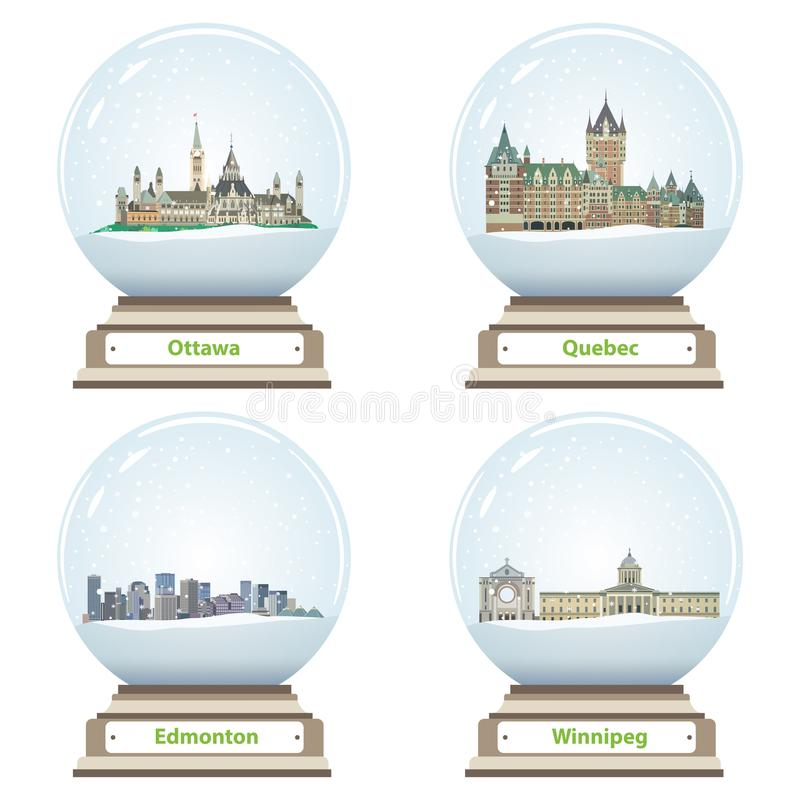 Vector collection of snow globes with canadian city skylines royalty free illustration