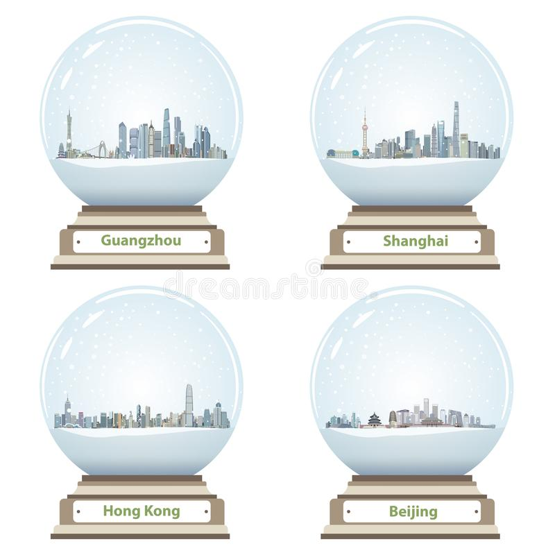 Vector collection of snow globes with Guangzhou, Shanghai, Hong Kong and Beijing city skylines royalty free illustration