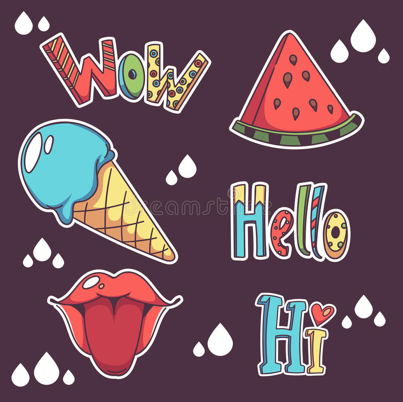 Vector collection of summer doodle patch badges. Hello, hi, lips, watermelon, icecream, wow vector illustration